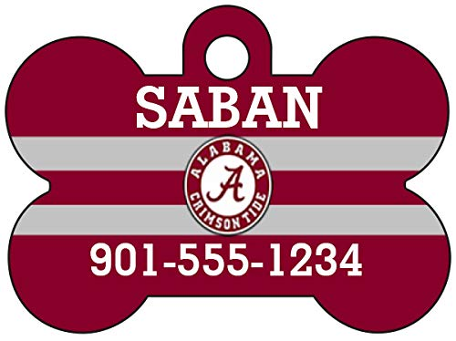 uDesignUSA NCAA Dog Tag Pet Id Tag Personalized w/Name & Number (Alabama Crimson Tide)