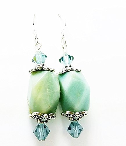 Amazonite Stone Oblong Bead and Austrian Crystal 2 inch Drop Earrings Oblong Stone