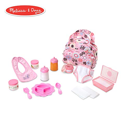 Melissa & Doug Mine to Love Doll Feeding and Changing Accessories Set (Diaper Bag Set, Baby Food & Bottle Set, Promotes Pretend Play Skills) (Good Places To Put Elf On The Shelf)