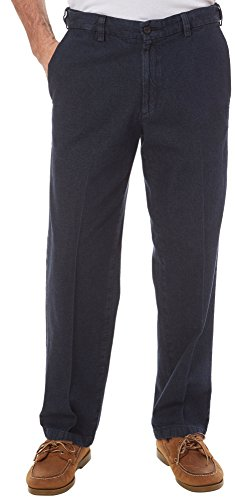 Haggar Men's Work To Weekend Dark Stonewash Denim No Iron Plain Front Pant, Navy, 44x30