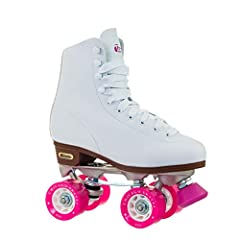 The leather-lined vinyl women's 800 classic roller skate from Chicago Skates features eyelets and speed hooks. It has a polished aluminum chassis with double-adjustable aluminum trucks and jump bar. This skate is also equipped with 58-mm high...