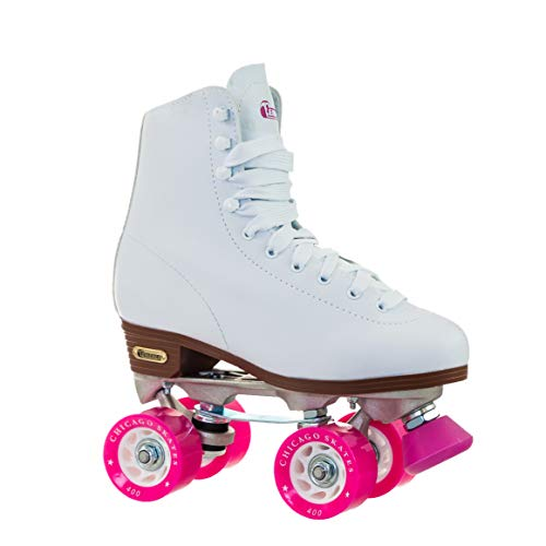 Leather In Line Skates - Chicago Women's Classic Roller Skates - White Rink Skates - Size 7