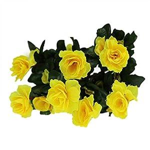 MARJON FlowersHot Sale!!!! Artificial Bouquet Simulation of Azalea Safflower Home Wedding Garden Party Festival Decoration (Yellow) 39
