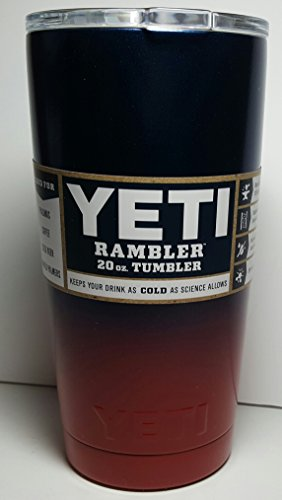Yeti Rambler, Powder-coated -Sports Team Colors (Navy Blue/Bold Red (20 ounce, Navy Blue/Red)