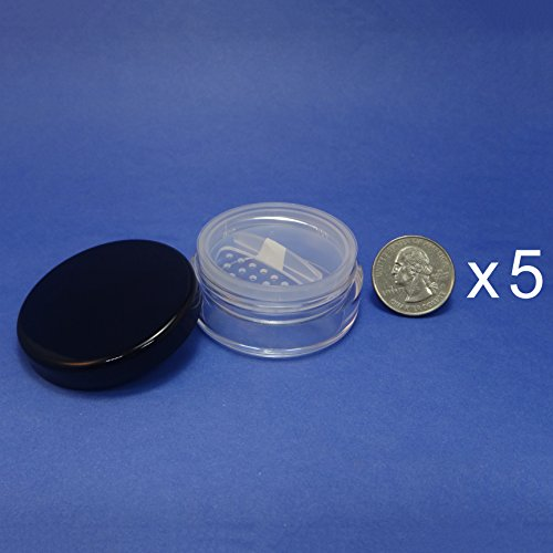 (5 Pcs Made in Taiwan 20 g Pot Travel Size Sifter Loose Powder Plastic Jar with Rotating Sifter & Black)