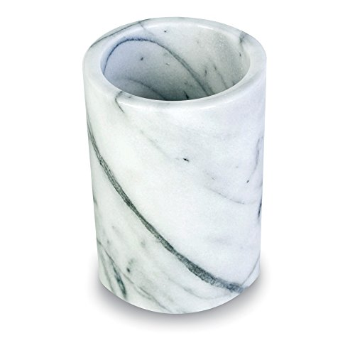 Elegant Marble Utensil Holder Crock - Kitchen Storage Organizer/Wine Chiller Cooler, White