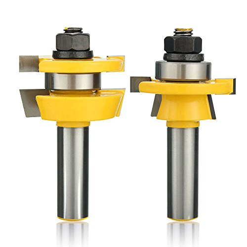 Yakamoz Set of 2Pcs Bevel Stile and Rail Router Bit Set | 1/2-Inch Shank | 7/8-Inch Stock | 3/8-Inch Cutting Depth