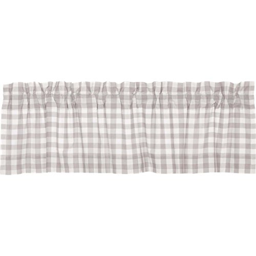VHC Brands Farmhouse Kitchen Window Curtains - Annie Buffalo Check White Lined Valance, 16