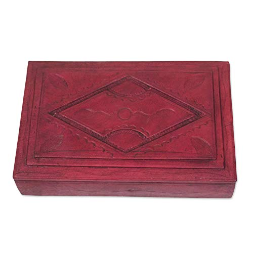 NOVICA Handcrafted Wood and Red Leather Jewelry Box, African (Novica Leather Table)
