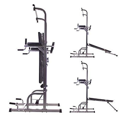 Maquina multiestación de musculación y dominadas. Torre barra para abdominales: Amazon.es: Jardín