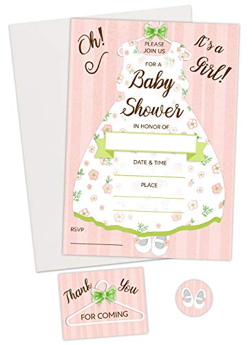 Baby Shower Girl Invitations kit (20 Count) with Thank You for Coming Card and Envelope Seal Sticker. Includes envelopes for ()