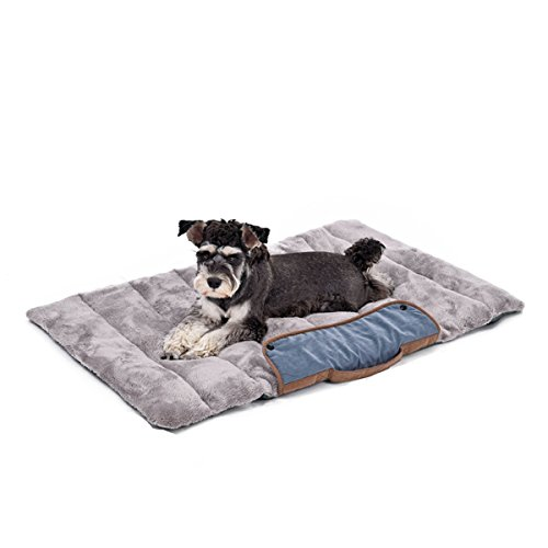 PAWZ Road Dog Mat Pet Cat Collapsible Bed Ultra Soft&Plush Warm Cushion for Dog Puppy Cat Indoor Outdoor Lawn Use,39.4'x25.6' inches Blue