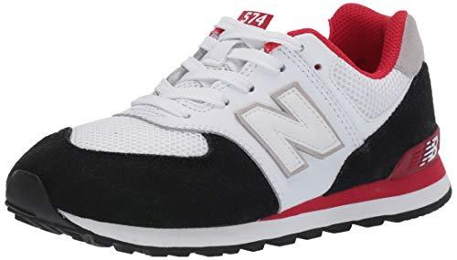 New Balance Boys' Iconic 574 V1 Running Shoe, Black/Team RED, 7 M US Big -