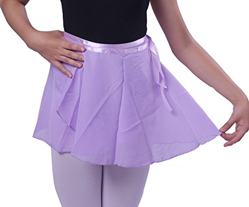 woosun Girls Ballet Wrap Skirt Kids Dance Skate Over Scarf Tutu Skirts Chiffon 32cm Length (Ligth Purple) by woosun