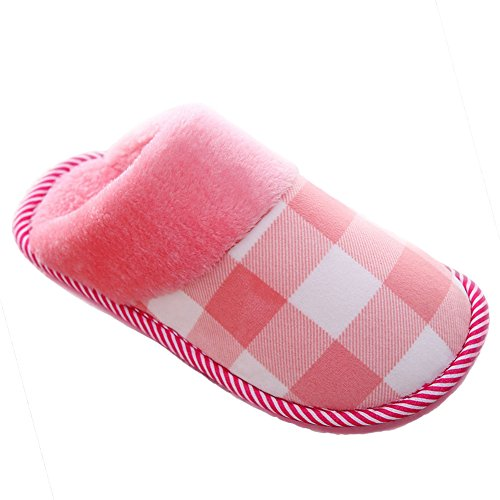 Plush GESIMEI Ladies Slippers Women On Home Warm Checked Men Slip Fur Shoes Mule Faux Winter Slippers Slippers Pink Lined ROdrxqRw