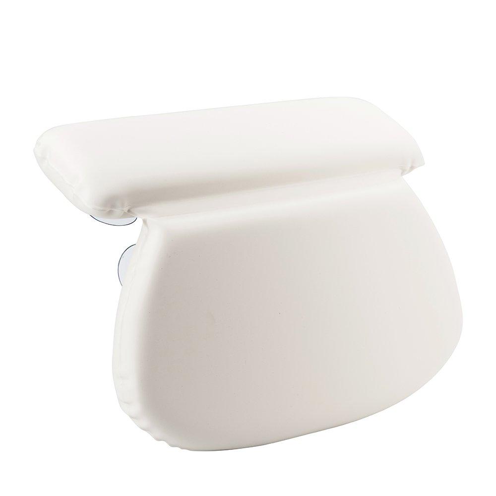 TANBURO Cuscino per il bagno-Cuscino da Bagno Antiscivolo, Poggiatesta in schiuma, Ortopedico Supporto per Schiena Collo Spalle, con 7 Potenti Ventose, Bianco