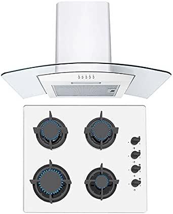 Sia 60 cm cocina de gas en cristal blanco y 70 cm, cristal), diseño curvado extractor de campana blanco: Amazon.es: Grandes electrodomésticos
