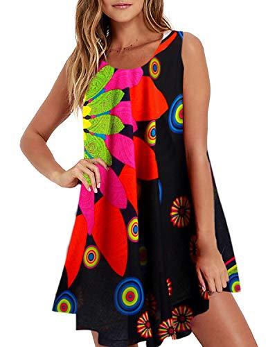 ZANZEA Womens Off The Shoulder Chiffon Dress Sexy Summer Beach Sundress Cold Shoulder Flowy Short Dress Casual Loose 03 Floral S ()