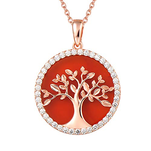 AGVANA Rose Gold Plated Sterling Silver Natural Red Onyx Tree of Life Pendant Necklace Halo Cubic Zirconia CZ Fine Jewelry Gifts for Women Girls with Gorgeous Jewelry Box, 16