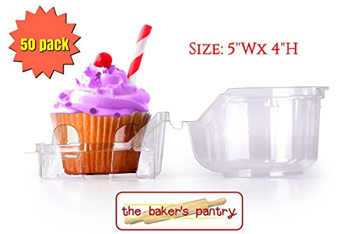 Individual Plastic Cupcake Boxes-Cupcake Containers,Cupcake Holders ,1 Compartment Container Cupcake and Muffin Containers cupcake containers plastic disposable (50,5WxH4)