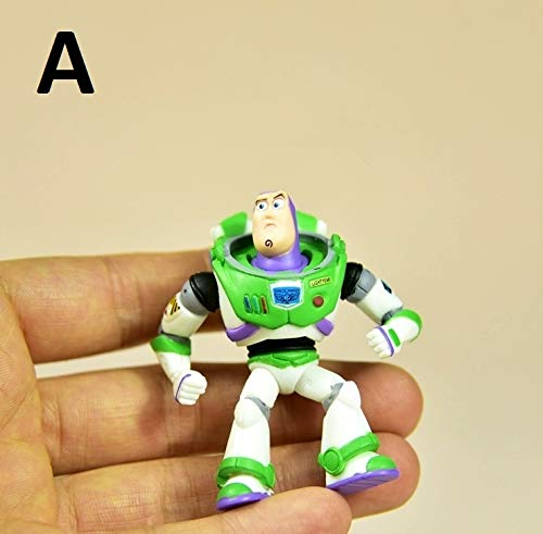 PAPRING Toy Toys Action Figure 2.3 inch Hot PVC Figures Buzz Lightyear Car Sheriff Woody Jessie Small Model Mini Doll Gift Christmas Halloween Birthday Gifts Animal Collection Collectible for Kids (A)