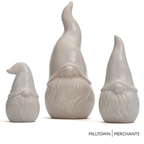 (Milltown Merchants trade; Ceramic Gnomes - White Contemporary Gnomes - Set of 3 - Garden Gnome Home Decor - Indoor/Outdoor Gnome)