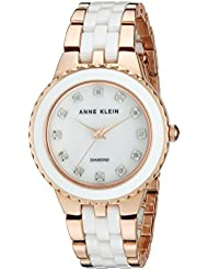 Anne Klein Womens AK/2712WTRG Diamond-Accented Rose Gold-Tone and White Ceramic Bracelet Watch