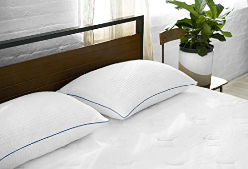 Sleep Innovations 2 Pack Hotel Premium Shredded Gel Memory Foam Bed Pillow, 5 Year Warranty, Made in America Size, Queen, White
