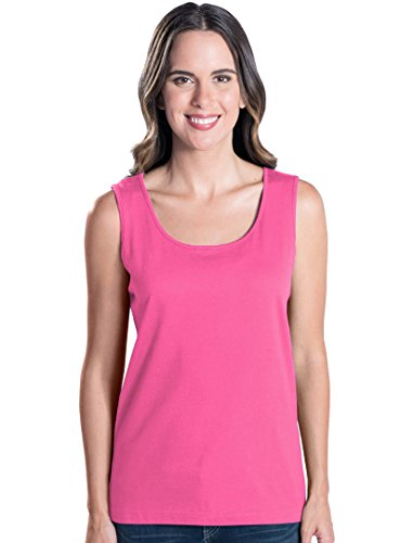 LAT Apparel Ladies Sleeveless 100% Cotton Jersey Tank Top [2X Large] Hot Pink Scoop Neck (Pink Scoop Neck Top)
