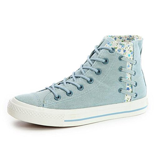 Women's Flat Canvas Sneakers Floral Comfortable Shoes Blue Casual - 3