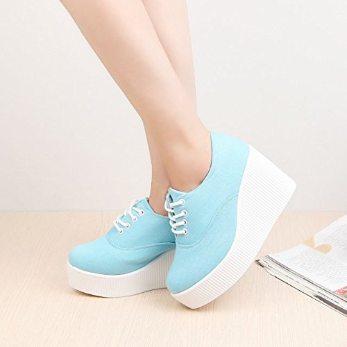 KHSKX-Waterproof Shoes Thick Bottom Slope With Female Tie Shoes Shoes White Shoes Thirty-six g30ged4