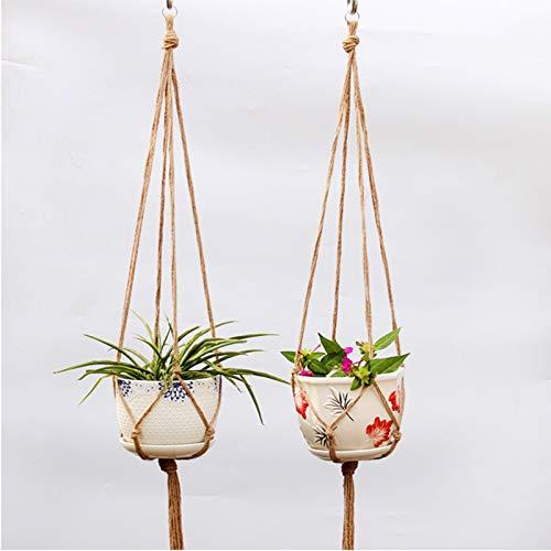 Plant Hanger (2 Pack),Macrame Plants Holder with 2 Hooks,Hanging Stand Shelf for Flower Pots Indoor Outdoor Decor, Natural Hemp Rope,41.3inch