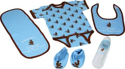 Western 2 Clothes Piece (River's Edge 5-Piece Baby Onsey, Bib, Pad, Booties, and Bottle Combo Pack (Western Blue, 0-6 Months))