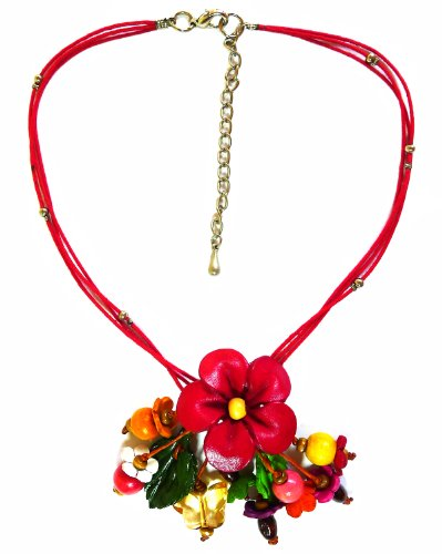 Homemade Greek And Roman Costumes (BDJ Plumeria Flower Design Genuine Leather Pendant Cord Necklace 16 Inches.)