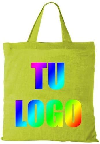 Pack 100 Unidades x Bolsa Tote de algodón 100 g/m² con asa Corta ...