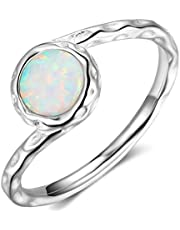 Stainless Steel Created Opal Hammered Wave Solitaire Wedding Engagement Promise Ring
