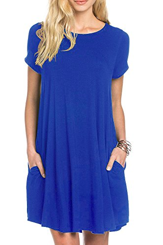 - TINYHI Women's Swing Loose Short Sleeve Tshirt Fit Comfy Casual Flowy Tunic Dress,Royal Blue