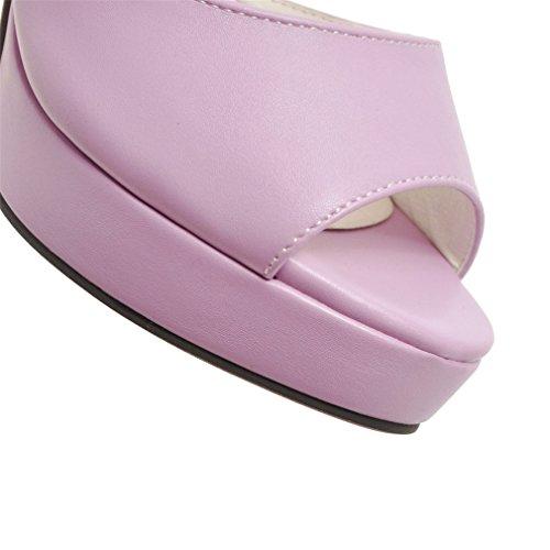 cc991e924be557 ... YE Damen Blockabsatz High Heels Plateau Peep Toe Sandalen mit  Knöchelriemchen und Blumen Elegant Schuhe Lila ...