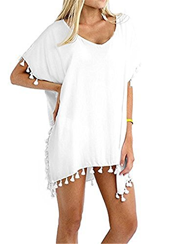 Women's Fashion Swimwear Bikini Cover Up/Beach Dres (One Size, White)