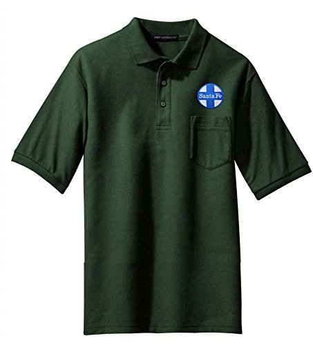 AT&SF Santa Fe Blue Cross Logo Embroidered Polo Forest Green Adult 2XL [16]