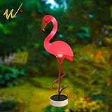W-DIAN LED Light Outdoor Pathway Metal Yard Art Plastic Metals Pink Flamingo Patio, Path, Lawn, Garden, Yard Decor,Outside Post Lighting Lamps Original Featherstone Flamingo's