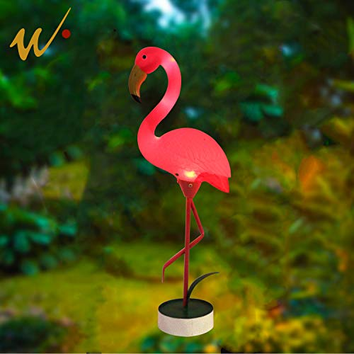 W-DIAN LED Light Outdoor Pathway Metal Yard Art Plastic Metals Pink Flamingo Patio, Path, Lawn, Garden, Yard Decor,Outside Post Lighting Lamps Original Featherstone Flamingo's by W-DIAN