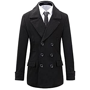 Benibos Mens Wool Slim Fit Double Breasted Half Trench Coat (M, 0051Black)