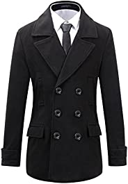 Mens Wool Regular Fit Double Breasted Half Trench Coat