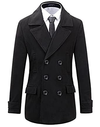 Benibos Mens Wool Slim Fit Double Breasted Half Trench Coat at ...