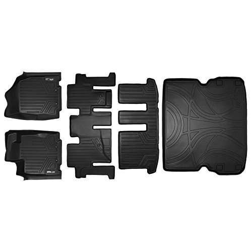 (SMARTLINER Floor Mats 3 Rows and Cargo Liner Behind 2nd Row Set Black for 2013-2018 Pathfinder / 2013 JX35 / 2014-2019 QX60)