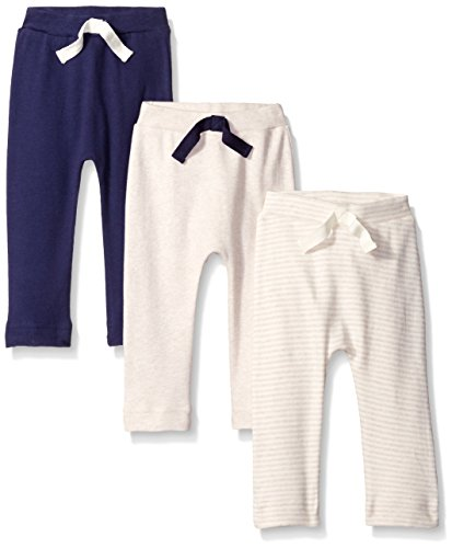 Touched by Nature Baby Organic Cotton Pants 3-Pack, Oatmeal/Navy, 0-3 Months