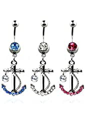 """Body Accentz® 316L Surgical Steel banana belly button ring (14g, 3/8"""") with dangling crystal anchor and rope design Navel Ring Body Jewelry Dangle 14 Gauge"""
