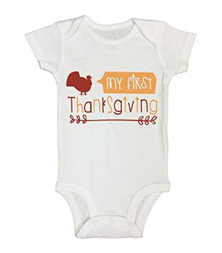 My First Thanksgiving Kids Turkey Holiday Onesies Funny Threadz 3-6 Months, (Funny Holiday Onesie)