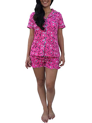 Womens Soft Pajamas Set Cotton Button Down Sleepwear PJ Two Short Sleeve, Shorts Paris, XL (Short Paris)